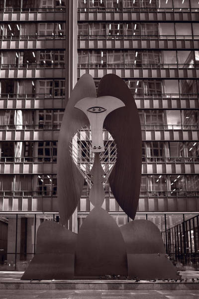 Wall Art - Photograph - Picasso Chicago Bw by Steve Gadomski