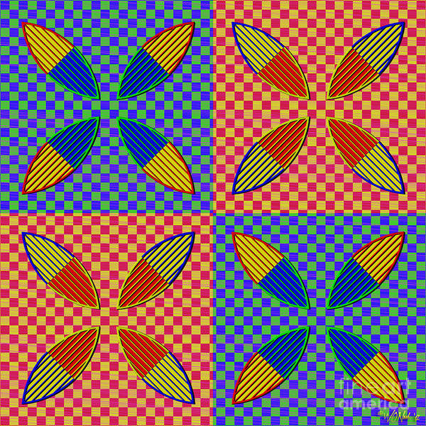 Digital Art - Vesica Piscis And Checkers No. 4 by Walter Neal