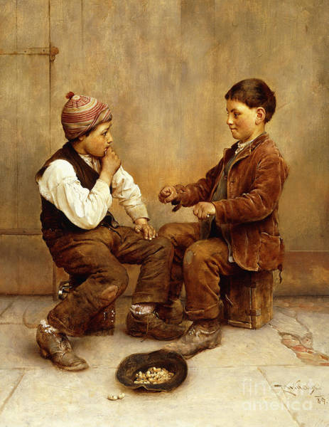Wall Art - Painting - Pick A Hand, 1889 by Karl Witkowski