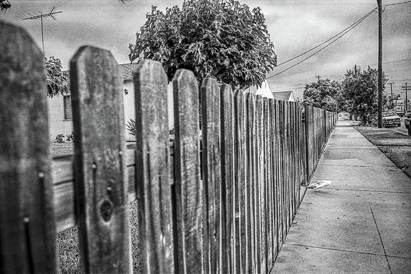 Picket Fence Photograph - Picket Fence Along The Boulevard In Black And White by YoPedro