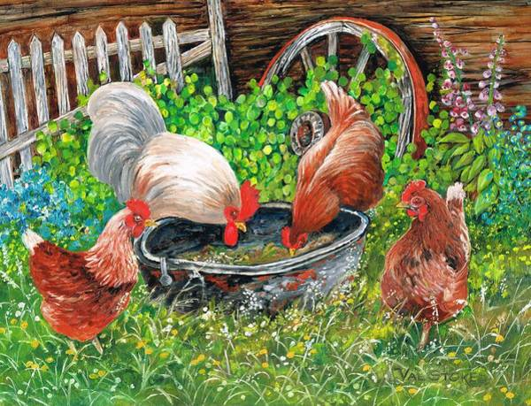 Painting - Pickin' Peckin' Chickens by Val Stokes
