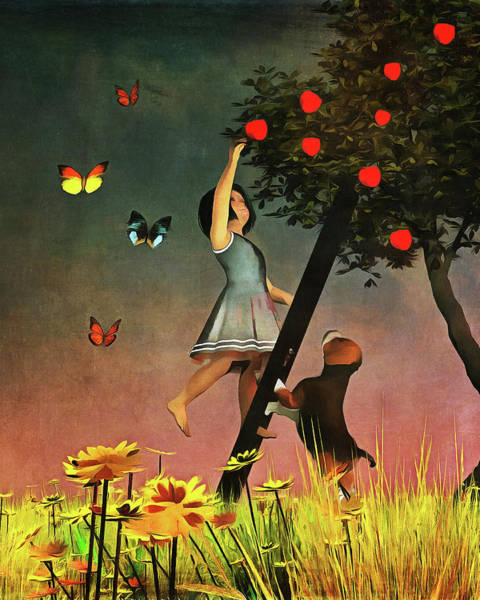 Picking Apples Together Art Print