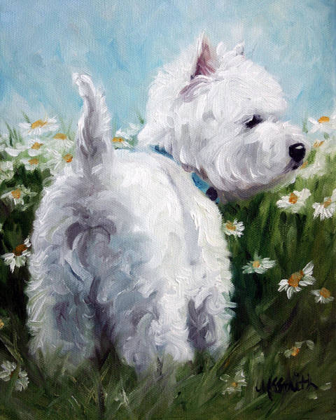 West Highland Painting - Picking Daisies by Mary Sparrow