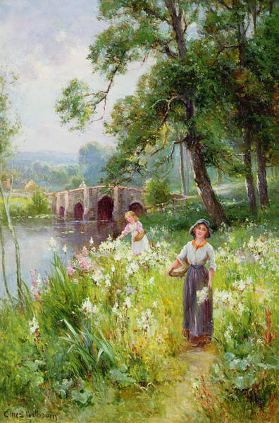 Riverscape Wall Art - Painting - Picking Flowers By The River by Ernest Walbourn