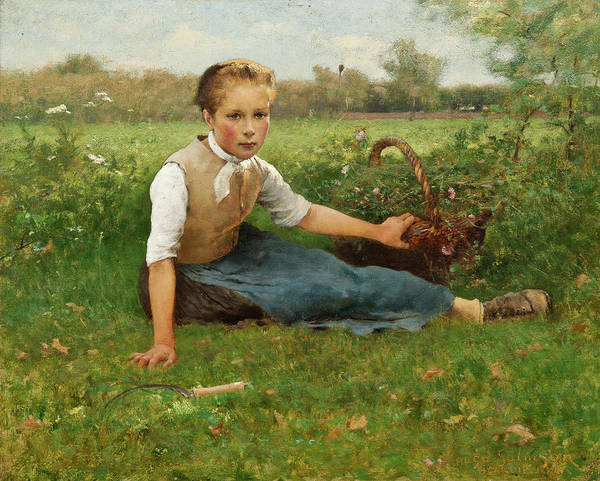 Barley Painting - Picking Flowers by Hugo Salmson
