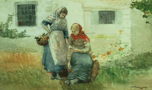 Pickers Wall Art - Painting - Picking Flowers by Winslow Homer