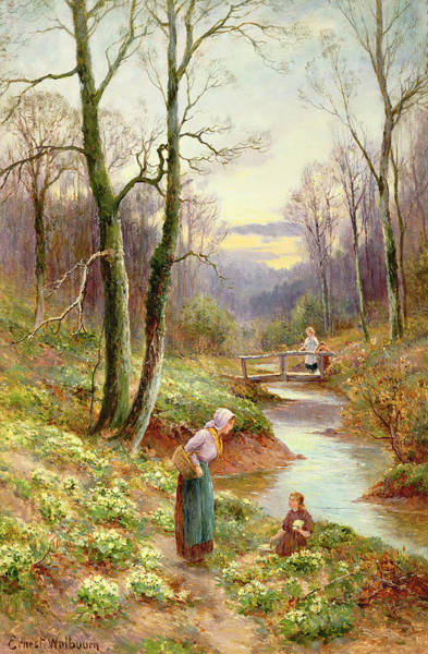 Pickers Wall Art - Painting - Picking Primroses  by Ernest Walbourn