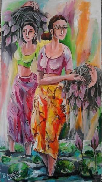 Wall Art - Painting - Picking The Lotus Flower by Sudumenike Wijesooriya