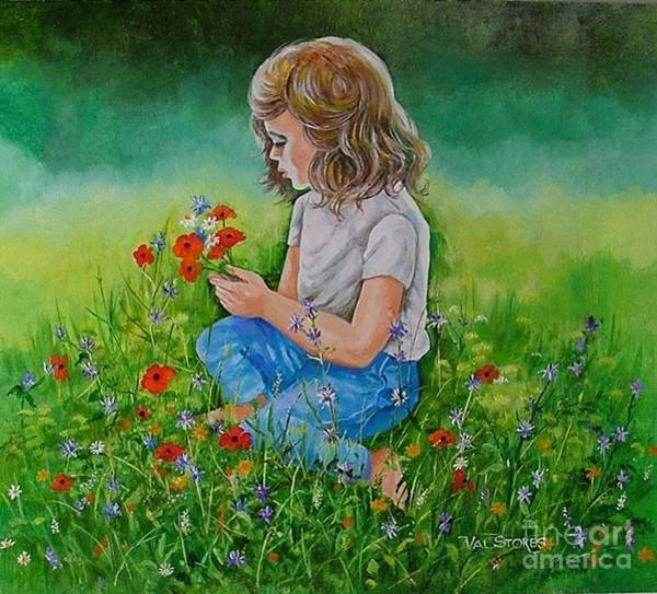 Painting - Picking Wildflowers by Val Stokes