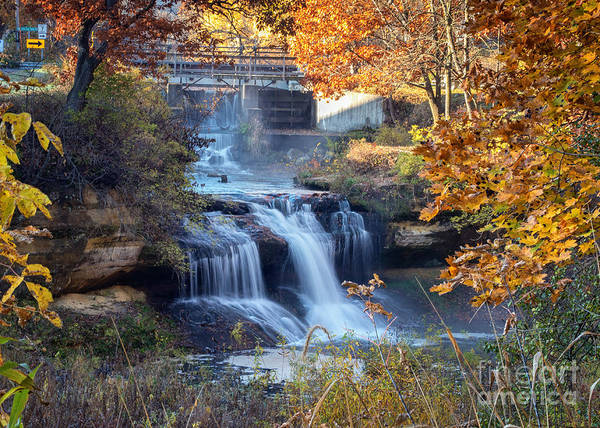 Photograph - Pickwick Mill Waterfall Framed With Leaves by Kari Yearous