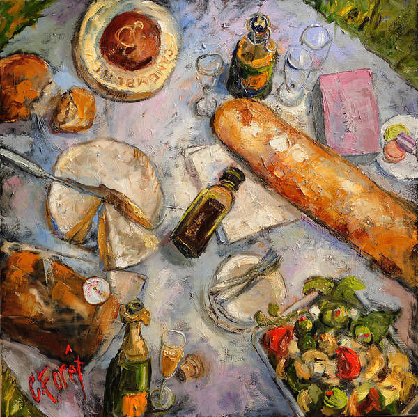Wall Art - Painting - Picnic At The Eiffel Tower by Carole Foret