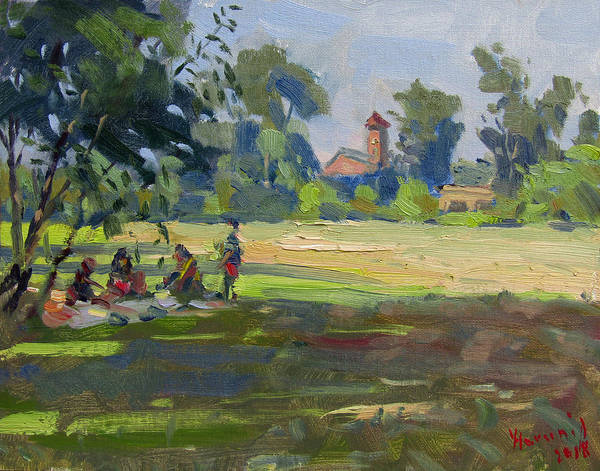 Wall Art - Painting - Picnic At Unity Island Park by Ylli Haruni
