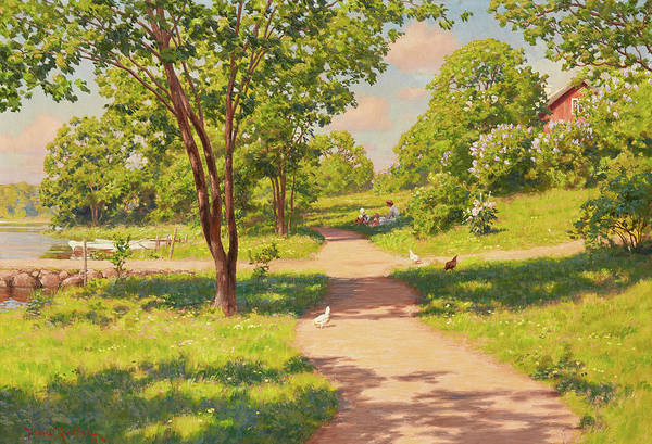 Wall Art - Painting -  Picnic In The Green by Johan Krouthen