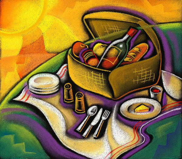 Picnic Basket Wall Art - Painting - Picnic by Leon Zernitsky