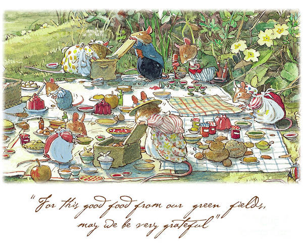 Wall Art - Drawing - Picnic Time by Brambly Hedge