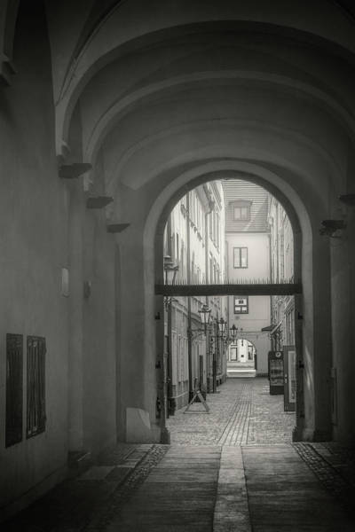 Wall Art - Photograph - Picturesque Alley In Wroclaw Old Town Poland In Black And White by Carol Japp