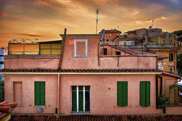 Photograph - Picturesque Old Houses At Sunset In Rome by Fine Art Photography Prints By Eduardo Accorinti
