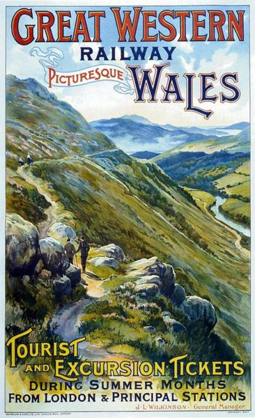 Western Decor Painting - Picturesque Wales - Landscape Painting - Great Western Railway - Vintage Poster by Studio Grafiikka