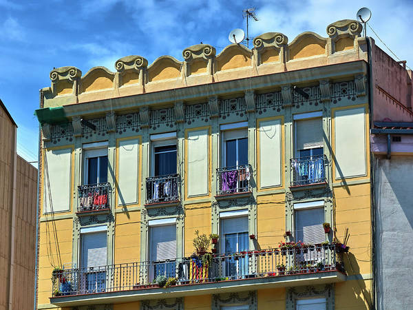 Photograph - Picturesque Yellow Building In Barcelona by Fine Art Photography Prints By Eduardo Accorinti