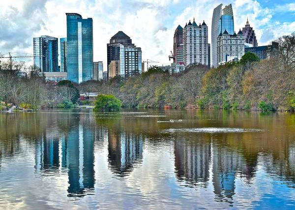 Wall Art - Photograph - Piedmont Park Pond Reflecting Atlanta by Frozen in Time Fine Art Photography