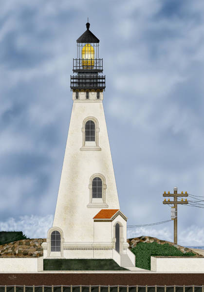 Wall Art - Painting - Piedras Blancas Lighthouse In California by Anne Norskog