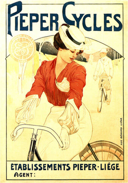 Wall Art - Mixed Media - Pieper Cycles - Bicycle - Vintage Advertising Poster by Studio Grafiikka