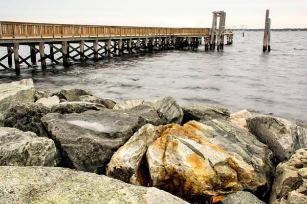 Photograph - Pier And Rocks At Colt State Park by Nancy De Flon