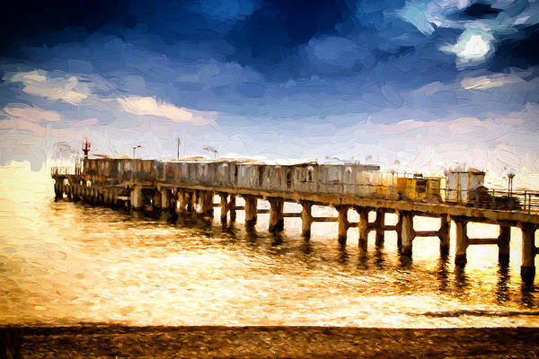 Photograph - Pier At Sunset Oil Painting Photograph by John Williams