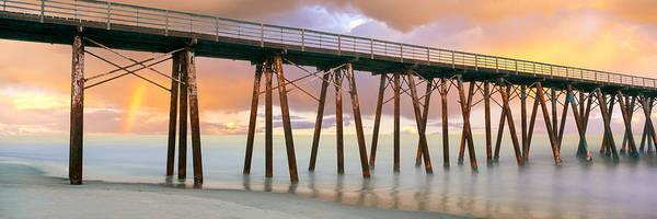 Baja California Peninsula Wall Art - Photograph - Pier On Beach During Sunrise, Playas De by Panoramic Images