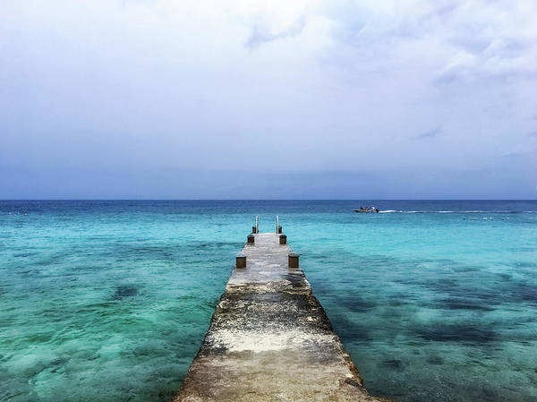 Wall Art - Photograph - Pier On Caribbean Sea With Boat by Susan Schmitz