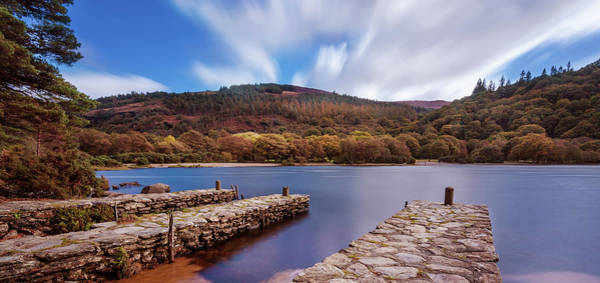 Photograph - Pier On The Upper Lake In Glendalough - Wicklow, Ireland by Barry O Carroll