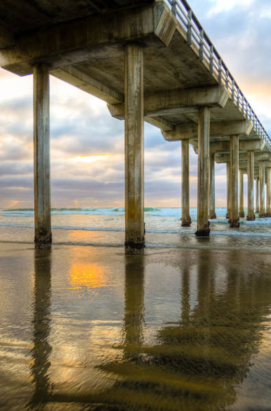 Scripps Pier Photograph - Pier Reflections by Kelly Wade