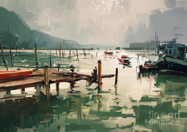 Art Print featuring the painting Pier by Tithi Luadthong