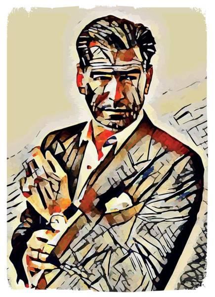New Trend Digital Art - Pierce Brosnan Portrait by Dusan Naumovski