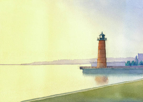 Painting - Pierhead Lighthouse, Milwaukee by James Faecke