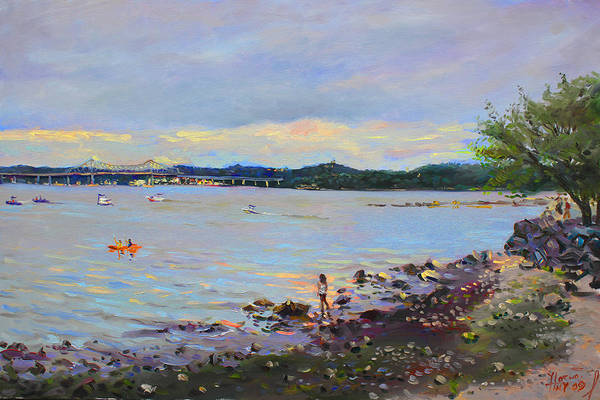 Hudson Painting - Piermont Shore Ny by Ylli Haruni