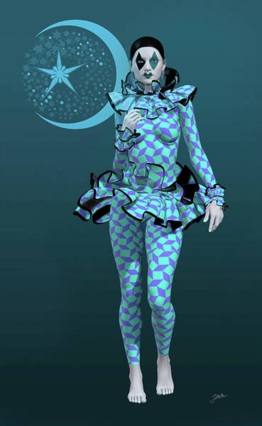 Wall Art - Digital Art - Pierrette Y La Luna Azul by Joaquin Abella