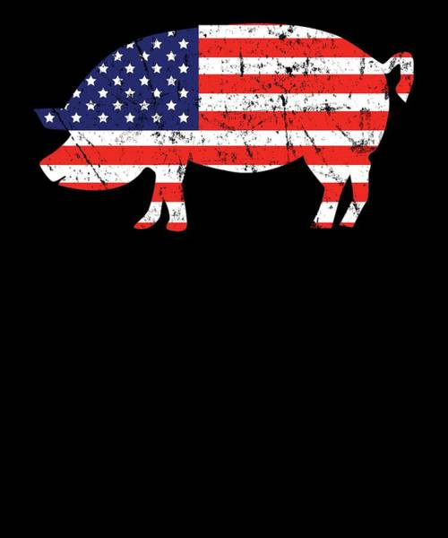 Barbeque Digital Art - Pig American Flag Bbq Barbecue 4th July by Michael S