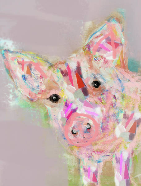 Neon Pink Painting - Pig by Claudia Schoen