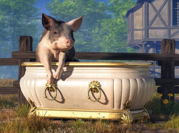 Bbq Digital Art - Pig In A Bathtub by Daniel Eskridge