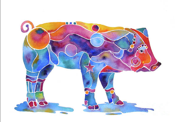 Painting - Pig Named Penelope In Many Colors by Jo Lynch