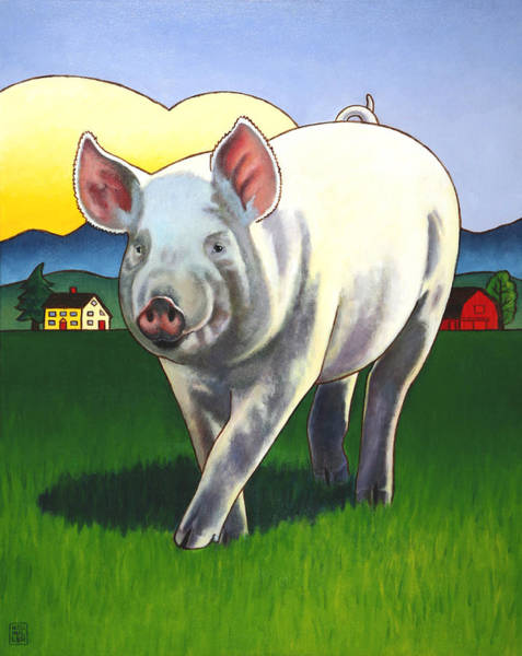 Wall Art - Painting - Pig Newton by Stacey Neumiller