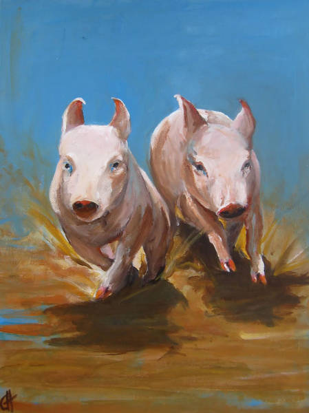 Wall Art - Painting - Pig Sooie by Cari Humphry