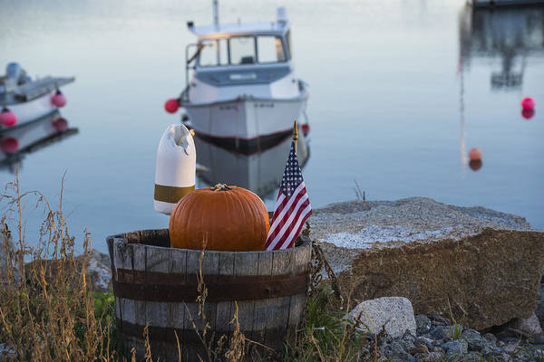Photograph - Pigeon Cove American Flag Pumpkin Buoy Rockport Harbor Ma Massachusetts by Toby McGuire