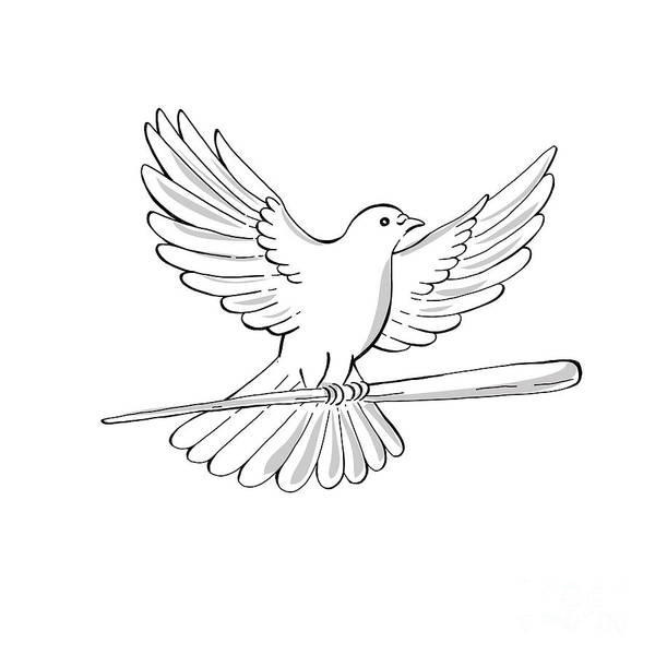 Wall Art - Digital Art - Pigeon Or Dove Flying With Cane Drawing by Aloysius Patrimonio