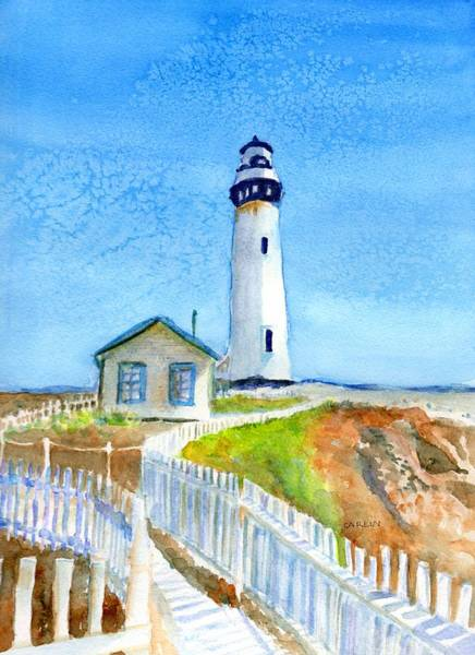 Wall Art - Painting - Pigeon Point Lighthouse California by Carlin Blahnik CarlinArtWatercolor