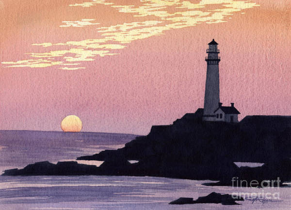 West Point Painting - Pigeon Point Lighthouse by David Rogers