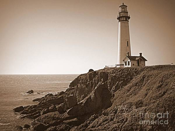 Photograph - Pigeon Point Lighthouse In Sepia by Carol Groenen