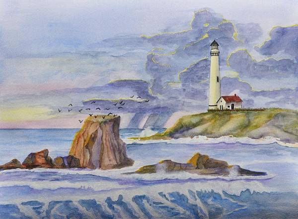Outcrop Painting - Pigeon Point Lighthouse by Linda Brody