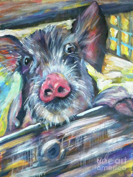 Barnyard Animal Painting - Piggy by JoAnn Wheeler